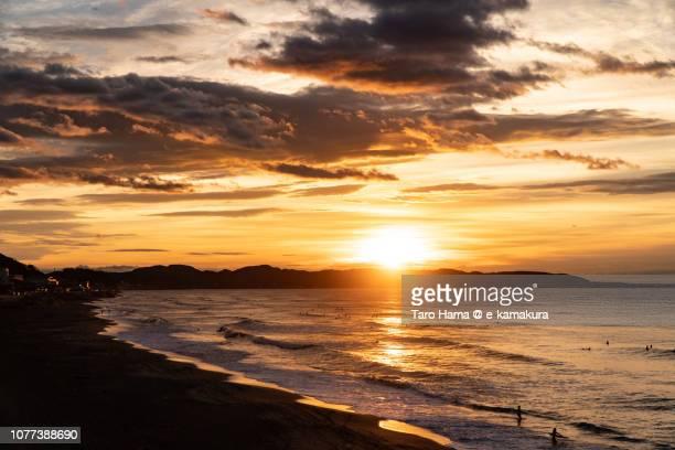 Rising sun on Kamakura city and Hayama town in Miura Peninsula and Sagami Bay, part of Pacific Ocean in Kanagawa prefecture in Japan