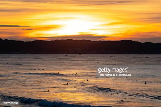 Rising sun on Kamakura city and Hayama town in Miura Peninsula and Sagami Bay, part of Pacific Ocean in Japan