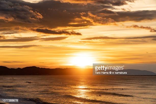Rising sun on Miura Peninsula and Sagami Bay, part of Pacific Ocean in Kanagawa prefecture in Japan