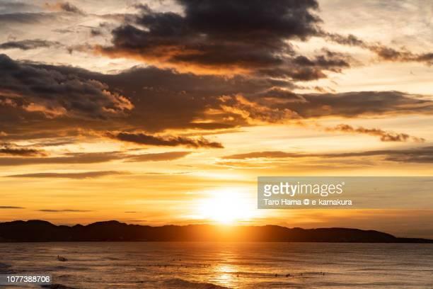 Rising sun on Miura Peninsula and Sagami Bay, part of Pacific Ocean in Japan