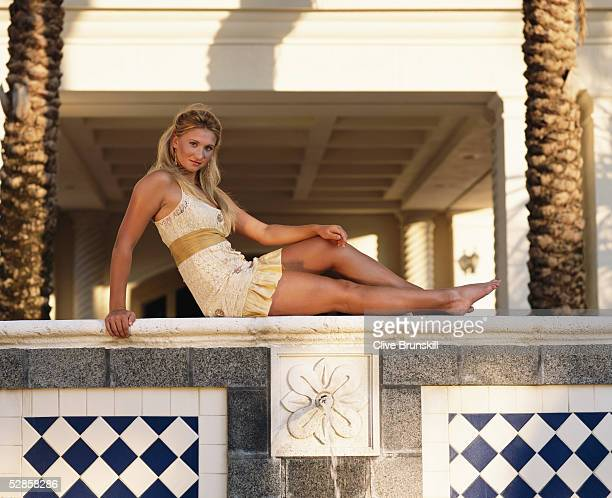 Rising tennis star 17year old Tatiana Golovin of France poses for a photoshoot at the Ocean Club on April 1 2005 on Key Biscayne in Miami Florida