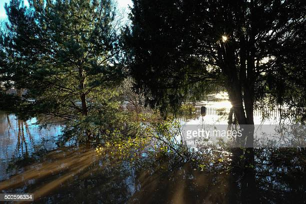 Rising water from the River Ouse floods part of the Museum Gardens on December 27 2015 in York England Heavy rain over the Christmas period has...