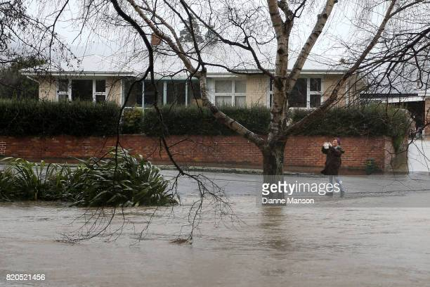 Rising waters cause flooding in the suburb of Cashmere on July 22 2017 in Christchurch New Zealand Heavy rain across the South Island in the last 24...