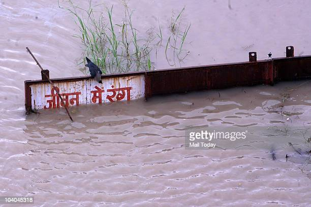 Rising waters of the Yamuna river at the Geeta Colony in New Delhi on September 11 2010