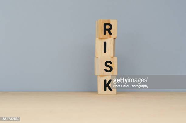 Risk Word on Wooden Blocks