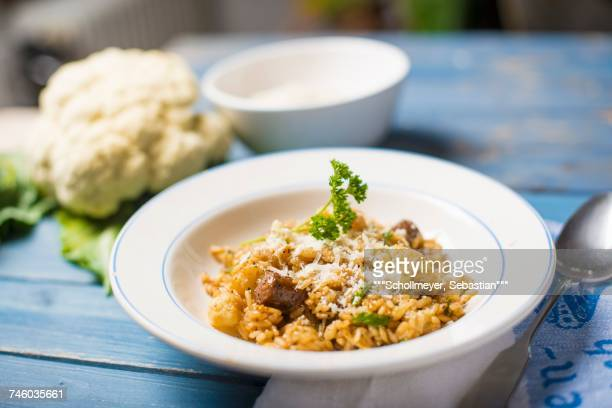 Risotto allabruzzese (risotto with cauliflower and spicy sausage, Italy)