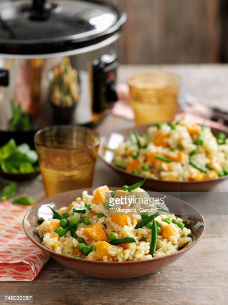 Risotto with green beans and sweet potatoes