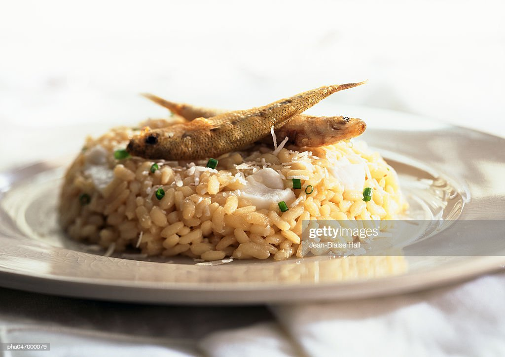 Risotto with whitebait, close-up : Stockfoto