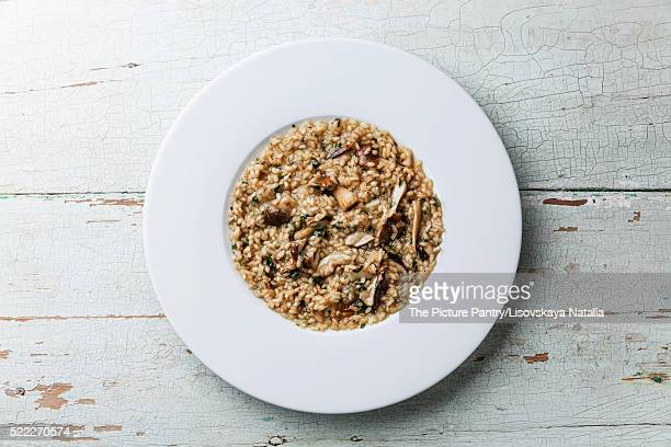 Risotto with wild mushrooms cep boletus on white plate on blue wooden background