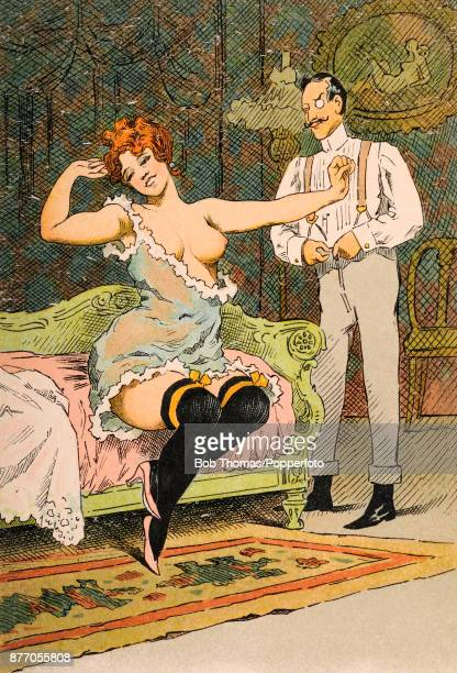 A saucy French postcard illustration featuring a flamehaired buxom woman in a state of deshabille in her boudoir entertaining an elegantly dressed...