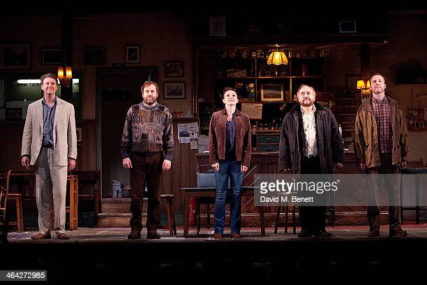 "Risteard Cooper, Ardal O'Hanlon, Dervla Kirwan, Brian Cox and Peter McDonald bow at the curtain call during the press night performance of ""The Weir""..."