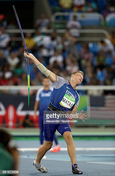Risto Matas of Estonia competes in the Men's Javelin Throw Qualifying Round on Day 12 of the Rio 2016 Olympic Games at the Olympic Stadium on August...