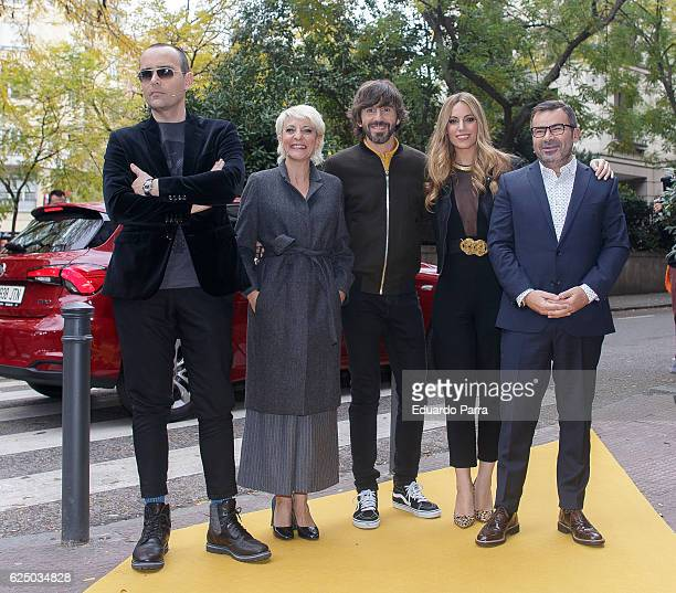 Risto Mejide Eva Hache actor Santi Millan singer Edurne Garcia and Jorge Javier Vazquez attend the 'Got Talent' TV show photocall at Nuevo Teatro...