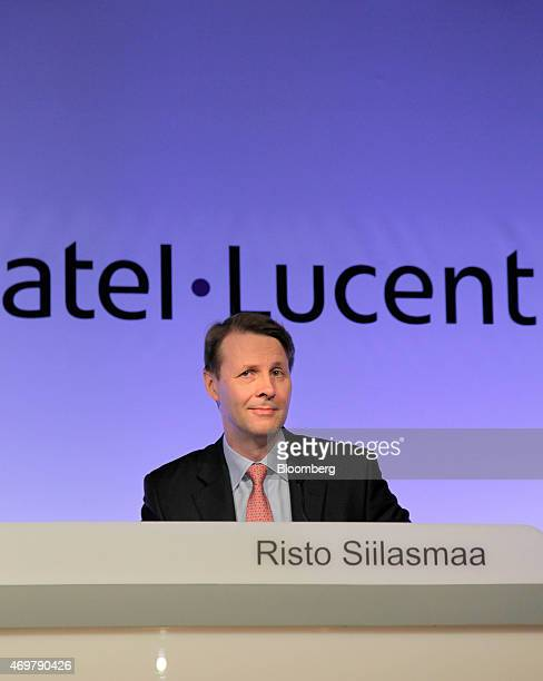 Risto Siilasmaa, chairman of Nokia Oyj, speaks during a news conference following Nokia's acquisition of Alcatel-Lucent SA in Paris, France, on...