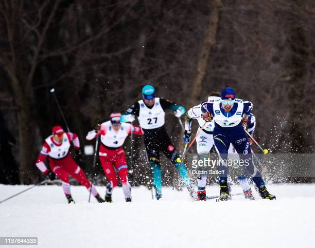 Ristomatti Hakola of Finland competes in the sprint quarterfinal heat during the FIS Cross Country Ski World Cup Final on March 22 2019 in Quebec...
