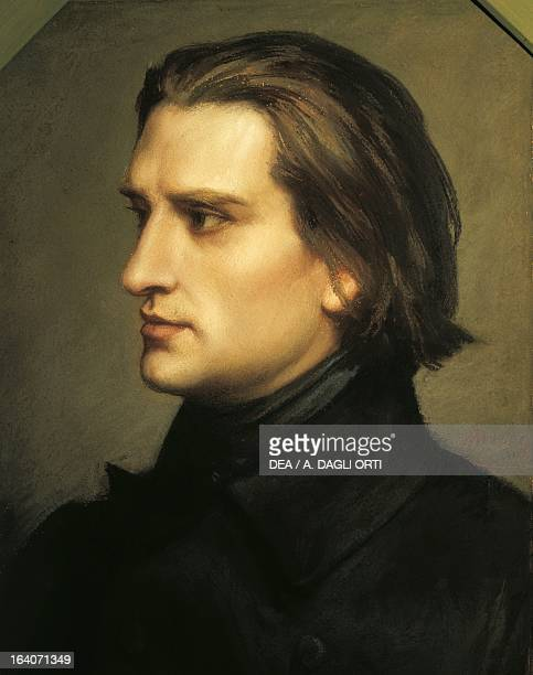 Ristratto of Franz Liszt to 29 years Hungarian composer pianist and conductor Painting by Charles Laurent Marechal Bayreuth RichardWagnerMuseum