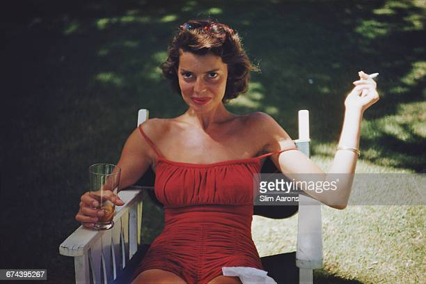Rita Aarons wife of photographer Slim Aarons during the filming of 'Mister Roberts' in Hawaii 1955