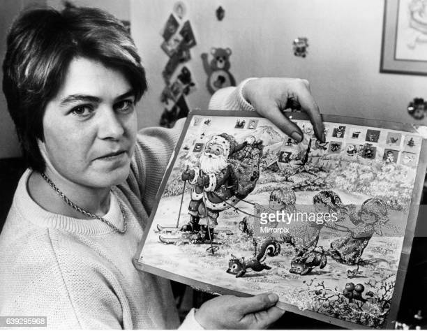 Rita Coombs, mother from Swansea, with Advent calendar that upset her 7 year old daughter Rachel, 2nd January 1987. The mother of two is demanding an...