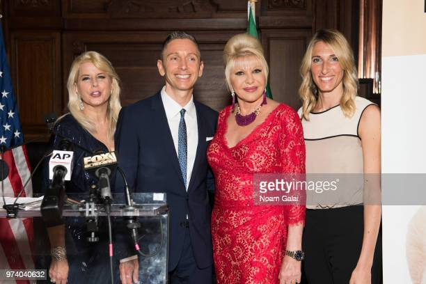 Rita Cosby Gianluca Mec and Ivana Trump attend a press conference to announce a new campaign to fight obesity at The Plaza Hotel on June 13 2018 in...