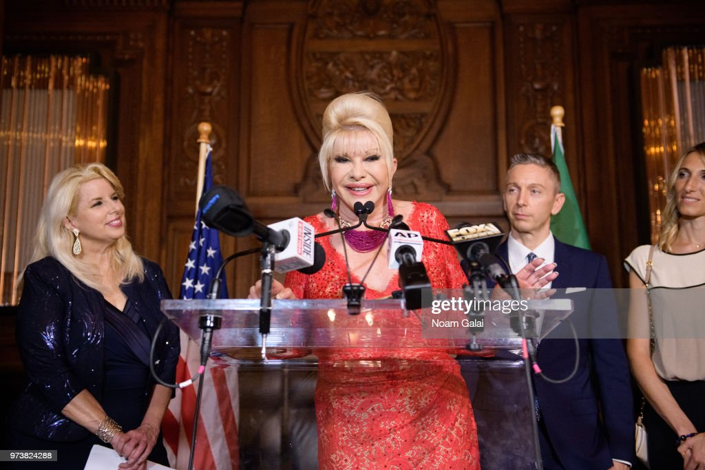 Rita Cosby, Ivana Trump and Gianluca Mec attend a press conference to announce a new campaign to fight obesity at The Plaza Hotel on June 13, 2018 in New York City.