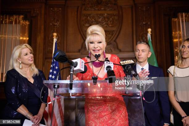 Rita Cosby Ivana Trump and Gianluca Mec attend a press conference to announce a new campaign to fight obesity at The Plaza Hotel on June 13 2018 in...