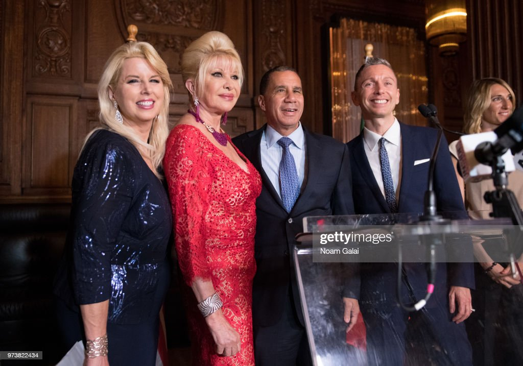 Rita Cosby, Ivana Trump, David Paterson and Gianluca Mec attend a press conference to announce a new campaign to fight obesity at The Plaza Hotel on June 13, 2018 in New York City.