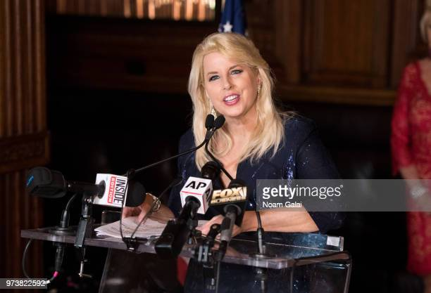 Rita Cosby speaks at Ivana Trump's press conference announcing her new campaign to fight obesity at The Plaza Hotel on June 13 2018 in New York City