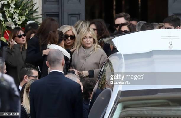 Rita Dalla Chiesa Mara Venier and Serena Autieri attend the funeral service for Fabrizio Frizzi at Piazza del Popolo on March 28 2018 in Rome Italy