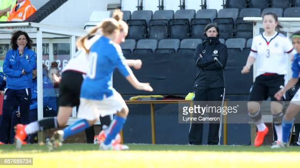 Rita Guaino coach of Italy and Anouschka Bernhard coach of Germany during the Germany v Italy U17 Girl's Elite Round at Keys Park on March 25 2017 in...