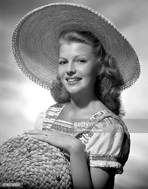 Rita Hayworth wears hat fashions Hollywood CA Image dated May 1 1945
