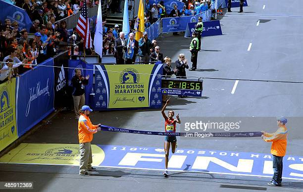 Rita Jeptoo of Kenya crosses the finish line to win the 118th Boston Marathon on April 21 2014 in Boston Massachusetts
