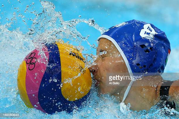 Rita Keszthelyi of Hungary attempts to control the ball during the Women's Water Polo Bronze Medal match between Australia and Hungary on Day 13 of...