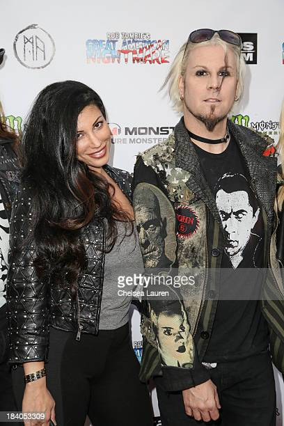 Rita Lowery and musician John 5 of Rob Zombie attend Rob Zombie's Great American Nightmare VIP opening night party at Pomona FEARplex on October 10...