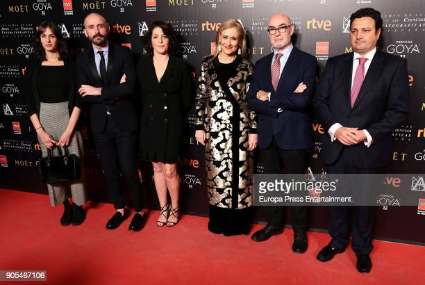 Rita Maestre Mateo Feijoo Nora Navas and Cristina Cifuentes attend the Goya cinema awards candidates 2018 meeting at Casa de Correos on January 15...