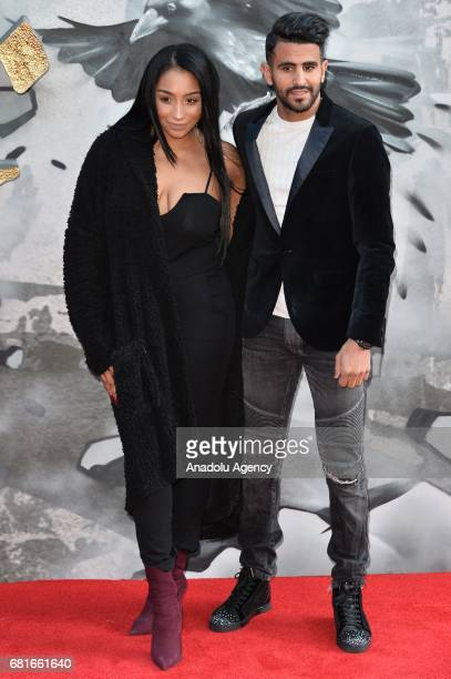 Rita Mahrez and Leicester City footballer Riyad Mahrez attends the European film premiere of King Arthur Legend Of The Sword in London England on May...