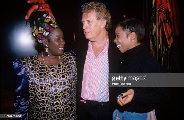 Rita Marley Chris Blackwell and Cedella Marley at a party for the induction of Bob Marley into the Rock Roll Hall of Fame at Tatou in New York City...