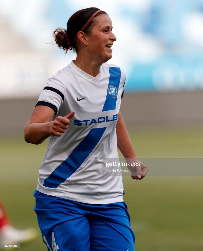 Rita Mery of MTK Hungaria FC celebrates her goal during the UEFA Women's Champions League Qualifying match between MTK Hungaria FC and WFC Hajvalia at Nandor Hidegkuti Stadium on August 22, 2017 in Budapest, Hungary.