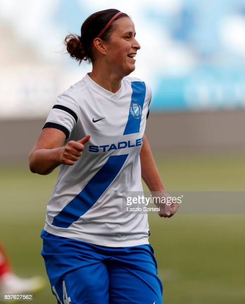 Rita Mery of MTK Hungaria FC celebrates her goal during the UEFA Women's Champions League Qualifying match between MTK Hungaria FC and WFC Hajvalia...