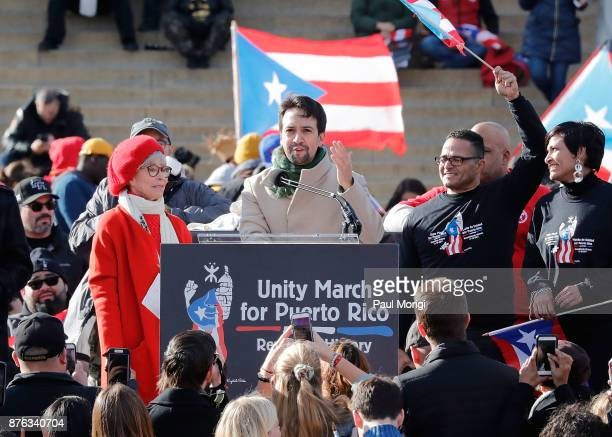Rita Moreno and LinManuel Miranda speak at a Unity for Puerto Rico rally at the Lincoln Memorial on November 19 2017 in Washington DC