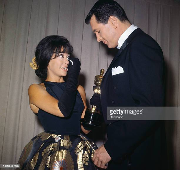 Rita Moreno tearfully accepts her Oscar for best supporting actress for her role in the 1961 film West Side Story at the 34th Academy Awards held on...