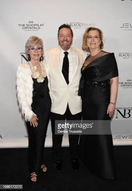 Rita Moreno Terry Fator and Angie Fiore Fator arrive at Nevada Ballet Theater's 35th Annual Black And White Ball at Aria on January 26 2019 in Las...