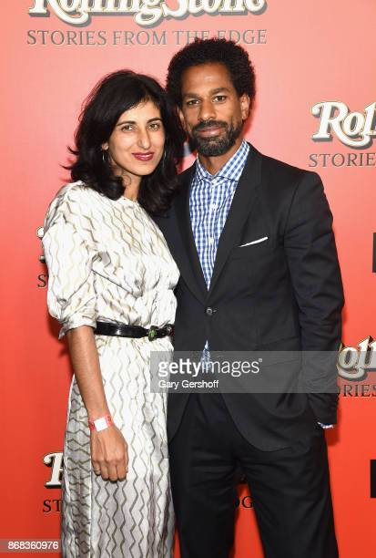 Rita Nakouzi and writer music journalist and TV personality Touré attend the Rolling Stone Stories From The Edge world premiere at Florence Gould...