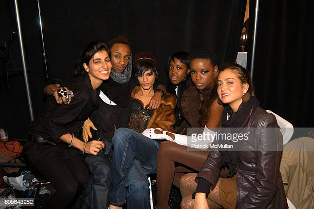 Rita Nakouzi Jerome Rice Omahyra Mota Ebony Tenille and Lauren Felton attend BABY PHAT Fall 2006 Fashion Show Backstage at The Tent at Bryant Park on...