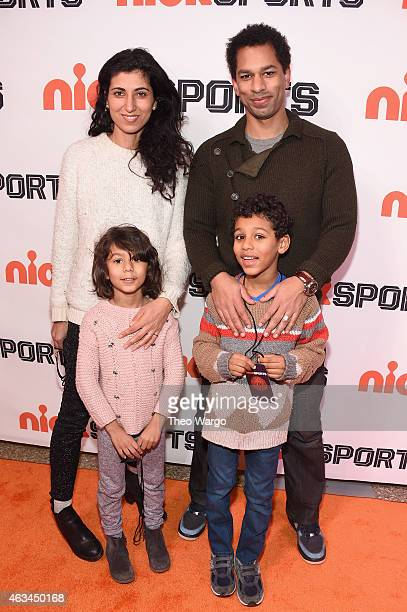 Rita Nakouzi Toure and their children attend NICKSPORTS special screening and party for Little Ballers Documentary at Chelsea Piers on February 14...