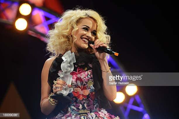 Rita Ora accepts the award for Best Newcomer at the 2012 MOBO awards at Echo Arena on November 3 2012 in Liverpool England