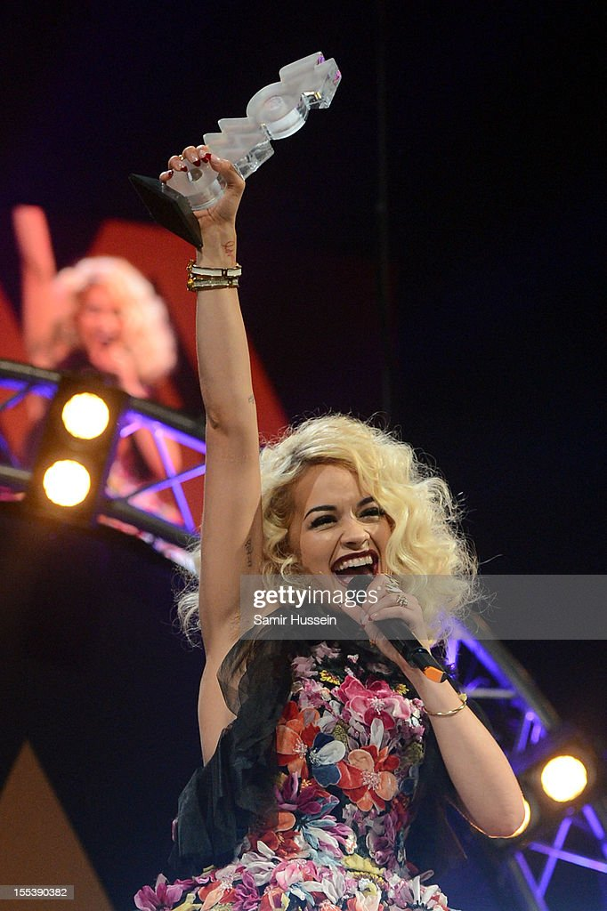 Rita Ora accepts the award for Best Newcomer at the 2012 MOBO awards at Echo Arena on November 3, 2012 in Liverpool, England.