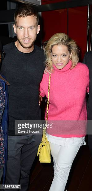 Rita Ora and Calvin Harris attend a listening party for Daft Punk's new album 'Random Access Memories' at The Shard on May 13 2013 in London England