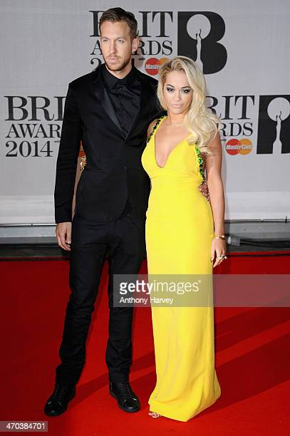 Rita Ora and Calvin Harris attend The BRIT Awards 2014 at 02 Arena on February 19 2014 in London England