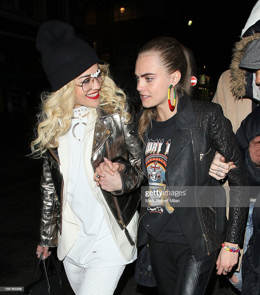 Rita Ora (L) and Cara Delevingne (R) at the Groucho club on January 19, 2013 in London, England.