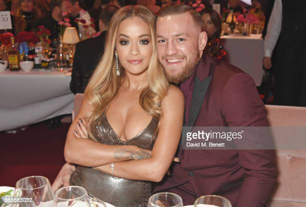 Rita Ora and Conor McGregor attend a drinks reception ahead of The Fashion Awards 2017 in partnership with Swarovski at Royal Albert Hall on December...